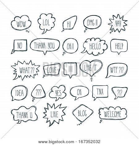 Big Set Of Comic Bubbles With Short Messages. Hand Drawn Speech Bubbles With Dialog Words