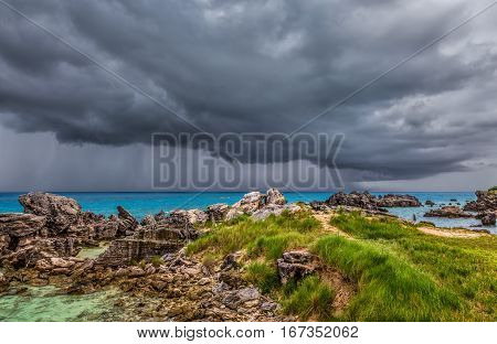Severe Thunderstorm at Tobacco Bay Beach in St. George's Bermuda