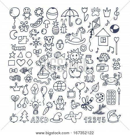 Collection of hand drawn cute doodles. Doodle children drawing. Sketch set of drawings in child style. Vector illustration