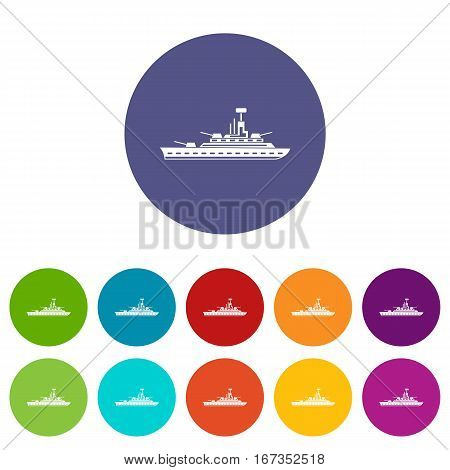 Military warship set icons in different colors isolated on white background