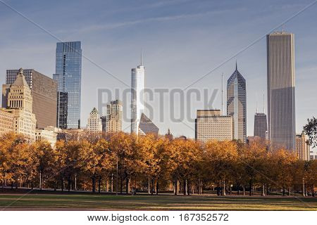 Autumn in Chicago, IL. Chicago Illinois USA.