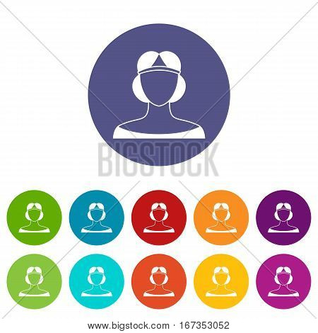 Medieval woman in tiara set icons in different colors isolated on white background