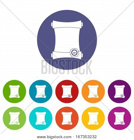 Paper scroll with wax seal set icons in different colors isolated on white background