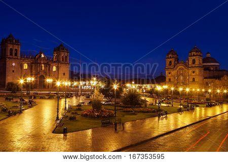 Plaza de Armas in Cuzco Peru - seen before sunrise.