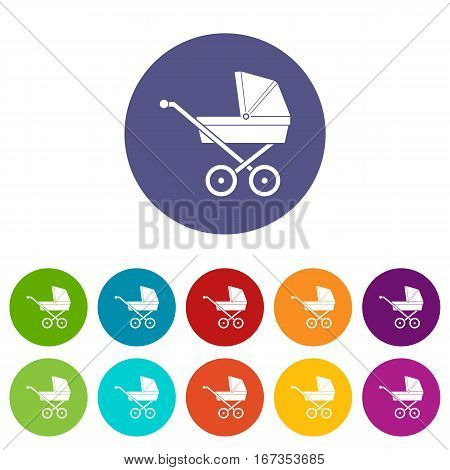 Baby carriage set icons in different colors isolated on white background