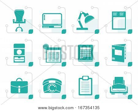 Stylized Simple Business, office and firm icons - vector icon set