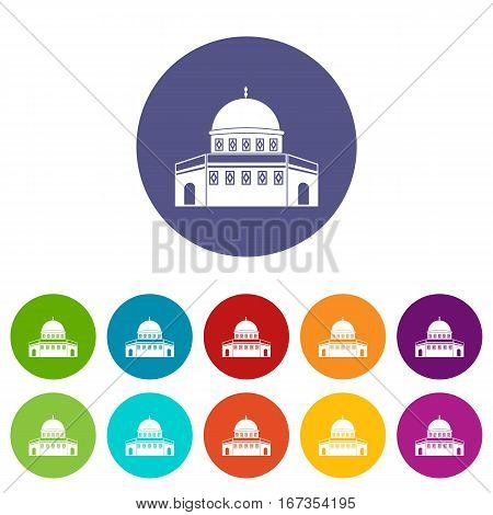 Dome of the Rock on the Temple Mount set icons in different colors isolated on white background