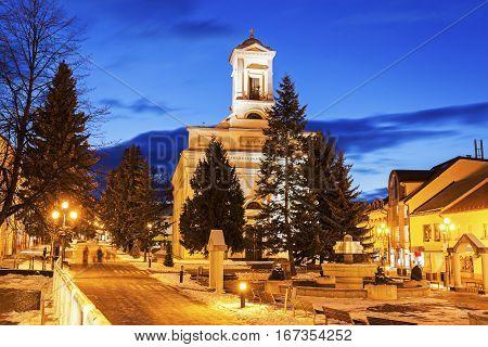 Evangelical Church in Poprad at night. Poprad Slovakia.