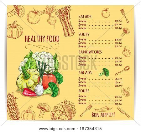 Menu with vegetables and prices for dishes. Cauliflower and pattypan squash onion and red chili or bell pepper, broccoli and tomato, asparagus and beets, corn and radish, pumpkin. Restaurant or vegan shop, vegetarian store or market theme
