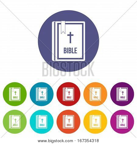 Bible set icons in different colors isolated on white background