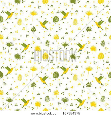 Seamless Pattern With Hummingbird And Leaves. Cute Background With Decorative Elements For Your Desi