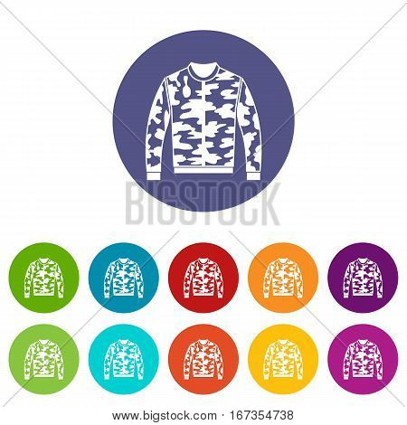 Camouflage jacket set icons in different colors isolated on white background