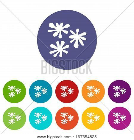 Paintball blob set icons in different colors isolated on white background