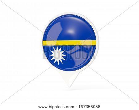 Round White Pin With Flag Of Nauru