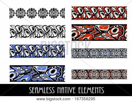 Vector illustration abstract native north american seamless pattern border big set