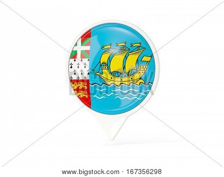 Round White Pin With Flag Of Saint Pierre And Miquelon
