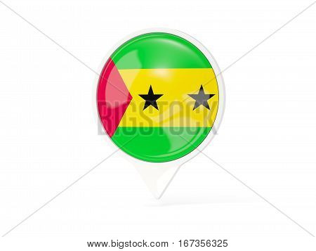 Round White Pin With Flag Of Sao Tome And Principe