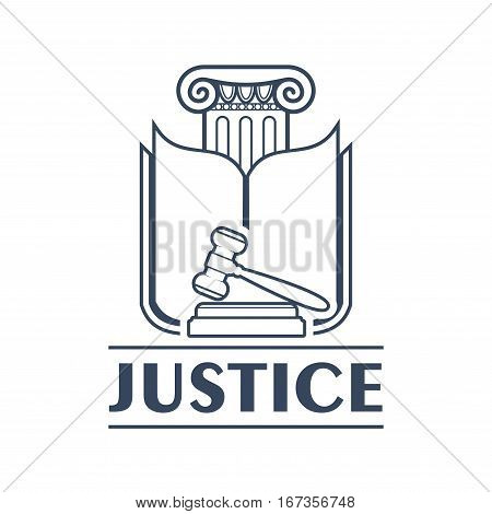 Greek column with lintel and opened book pages, judge gavel or hammer. Court decision making logo or verdict of law icon, ancient greece criminal system or punishment of crime. Advocacy bureau and legal center, justice theme