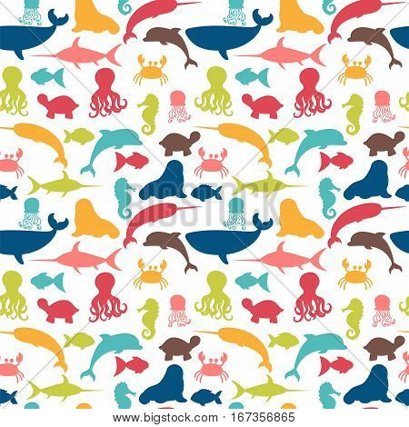 Underwater Seamless Pattern With Fishes, Octopus, Crab, Walrus, Jellyfish, Seahorse, Dolphin, Turtle