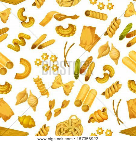 Italian pasta seamless pattern background. Macaroni like torti and quadretti, bucatini and tricolore, konkiloni and cannelloni, kanelone, farfalle, lazania and funghetto, stelle and nidi di rondine tagliatelle. Spaghetti shop, food wrapper theme