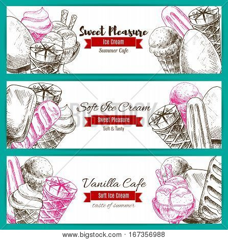 Ice cream sketch, dessert food banner. Chocolate flavored ice-cream in waffle cone or sorbet or scoop balls in glass, frozen whipped milk calorie snack with candy sticks and syrup. Shop badge or restaurant symbol, summer cafe