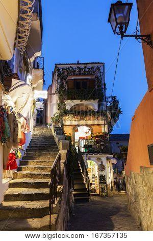 Positano architecture - narrow street in old town. Positano Campania Italy