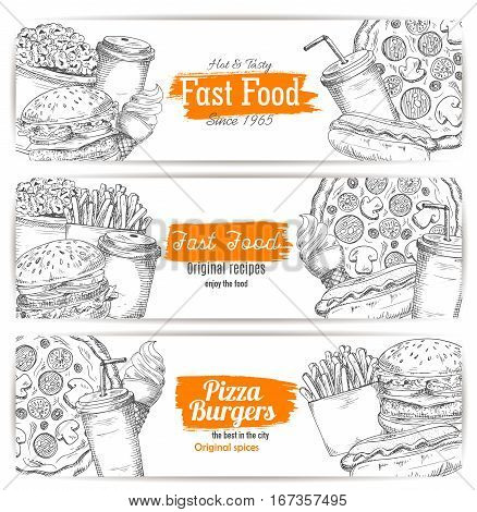 Fast american food banner sketch. Hamburger or cheeseburger, soda drink in cup or cone ice-cream, sausage in hot dog and burger, popcorn and pizza, fried french. Restaurant or cafe, shop poster or bistro logo
