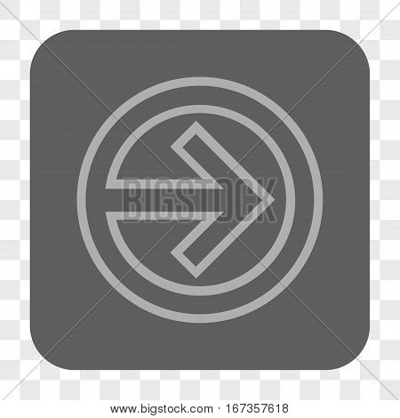 Import interface toolbar button. Vector icon style is a flat symbol on a rounded square button light gray and gray colors chess transparent background.