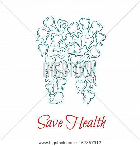 Tooth made of clean and white, healthy and ill or diseased, caries teeth. Dental or maxillofacial, orthodontic medicine or oral hygiene Toothache or pain, ill mouth with implant theme. Stomatology cabinet or anatomy lesson illustration