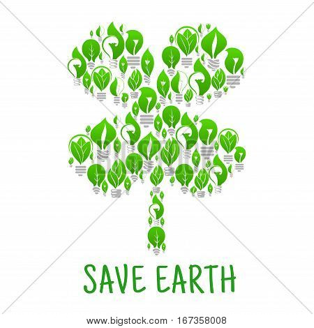 Ecological lightbulb made of leaf in form of clover or trefoil. Green sustainable electrical energy conservation. Bright illumination technology and environment, save planet and ecologic nature theme