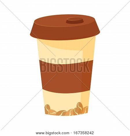 plastic cup cartoon with lid for coffee isolated on white background