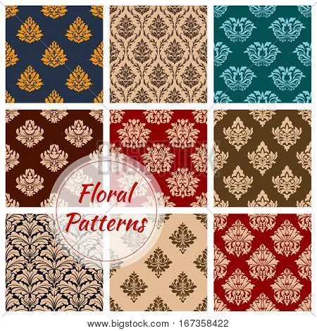 Renaissance floral set of seamless pattern background. Baroque flourish decoration and vintage tracery backdrop, retro embellishment or victorian heraldic ornament. Cloth and wrapper, royal drapery, heraldry theme