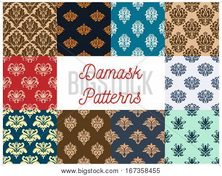 Retro damask or damasque seamless pattern background. Vintage floral ornament or flower foliage tile, plant or nature tracery and rococo embellishment, antique asian vignette. Tracery for cloth or textile design