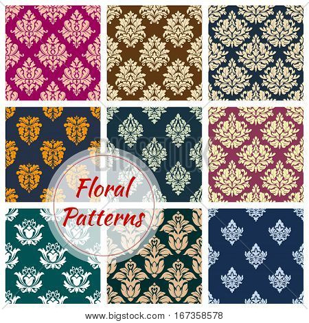 Set of vignette floral seamless pattern background. Flourish nature vintage fashion decoration for cloth, leaf ornament or tracery, old heraldic flourishes and retro victorian drapery. Classic luxury interior or medieval satin decor