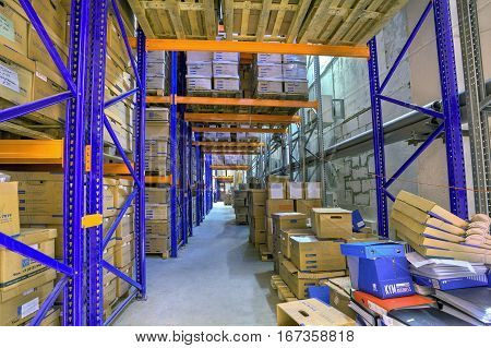 St. Petersburg Russia - December 3 2013: Records document boxes warehouse secure storage system.