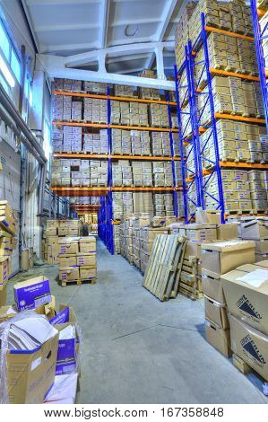 St. Petersburg Russia - December 3 2013: Record storage archives document warehouse secure storage system.