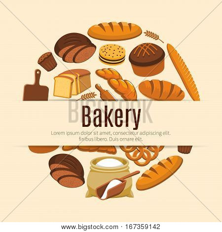 Pastry food and baked bread and wheat banner. Loaf of rye and brick bread and baguette, baton and ear, croissant and bun, wooden cutting board and roller pin, flour bag and kringle, cake with raisins. Nutrition and baker shop, cooking poster