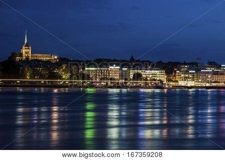 Cathedral Saint Pierre in Geneva and city skyline. Geneva Switzerland.
