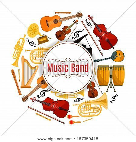 Musical instruments, sound or audio banner. Acoustic and electric guitar, violoncello or cello, violin and fiddle with fiddlestick or bow, trumpet and treble key. Melody and rhythm, song record and entertainment show theme