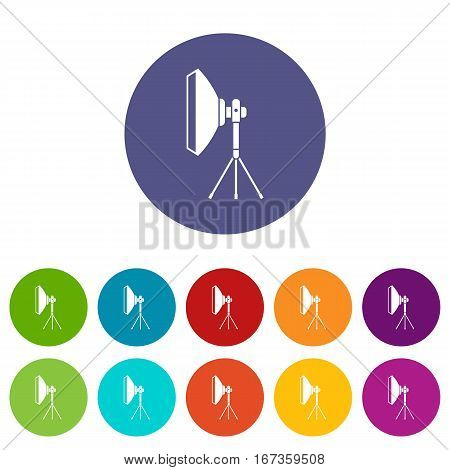 Studio lighting equipment set icons in different colors isolated on white background