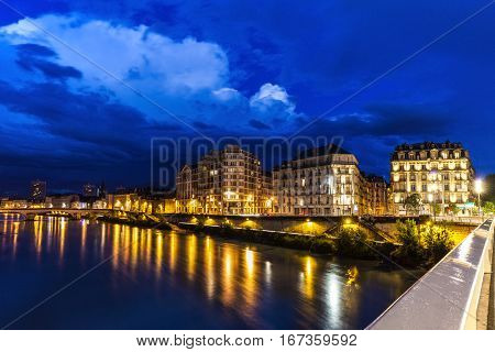 Grenoble architecture along Isere River. Grenoble Auvergne-Rhone-Alpes France.