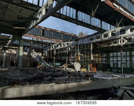 Former Jupiter factory in Pripyat the ghost town in the Chernobyl Exclusion Zone which was established after the nuclear disaster