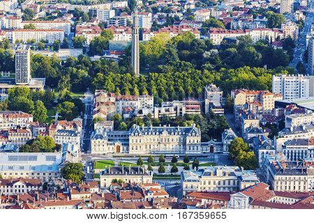 Grenoble architecture - aerial view of the city at sunset. Grenoble Auvergne-Rhone-Alpes France.