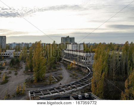 Main square of the ghost town Pripyat in the Chernobyl Exclusion Zone which was established after the nuclear disaster in 1986