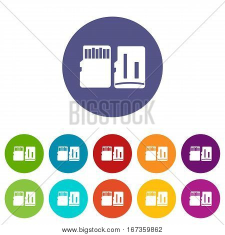 Both sides of SD memory card set icons in different colors isolated on white background