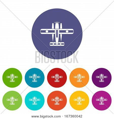 Ski equipped airplane set icons in different colors isolated on white background