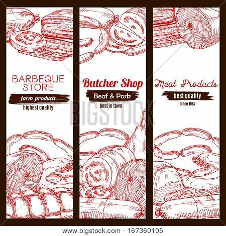 Sketched meat food and sausage banner. Pork ham and chicken leg, frankfurter wurst or kielbasa, tenderloin or cutted sirloin, meatloaf. Barbecue or bbq shop, butcher store or nutrition, poultry dish theme