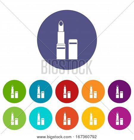Lipstick set icons in different colors isolated on white background