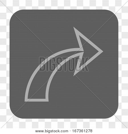 Redo interface toolbar button. Vector icon style is a flat symbol inside a rounded square button, light gray and gray colors, chess transparent background.