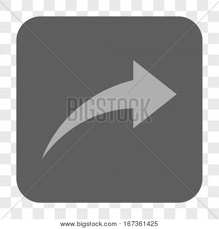 Redo interface toolbar button. Vector icon style is a flat symbol on a rounded square button, light gray and gray colors, chess transparent background.
